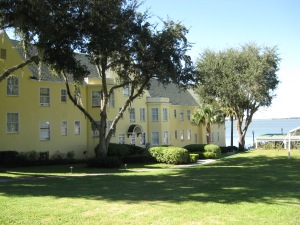 Terrace Building from the side overlooking Lake Dora, the 1930 photo was taken at the door in the middle of this picture.