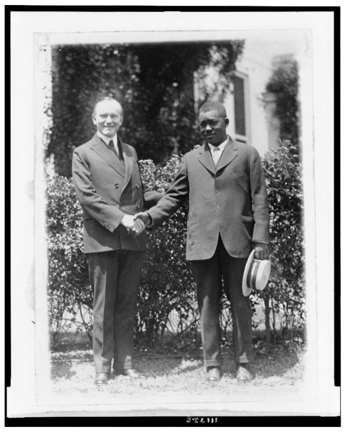 President Coolidge recognizing Thomas Lee