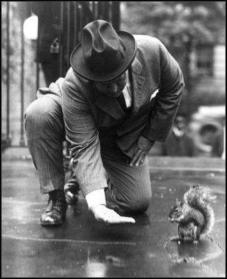 Secretary of the Navy Denby pictured here trying to feed Harding's pet squirrel, Pete.