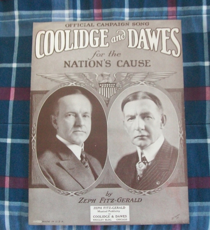 "The campaign song, ""Keep Cool with Coolidge"" underscored the steady leadership and calm reliability of the 1924 Republican team and its Party platform."