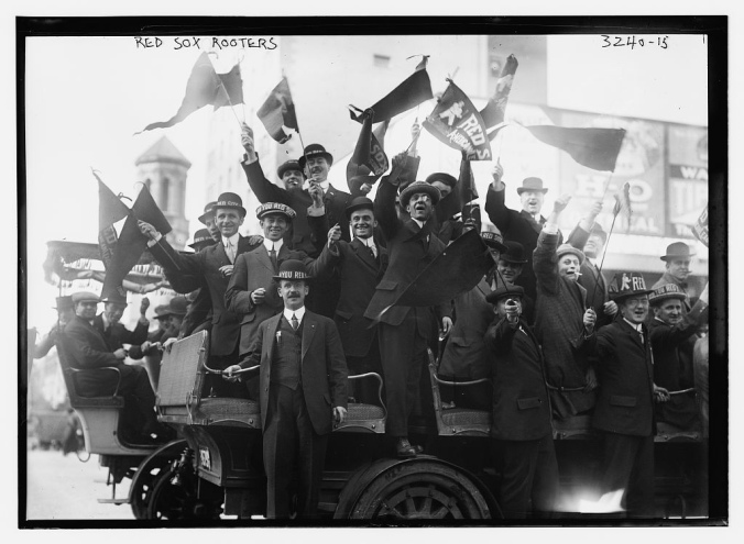 Boston fans cheer the Red Sox victory in 1915.