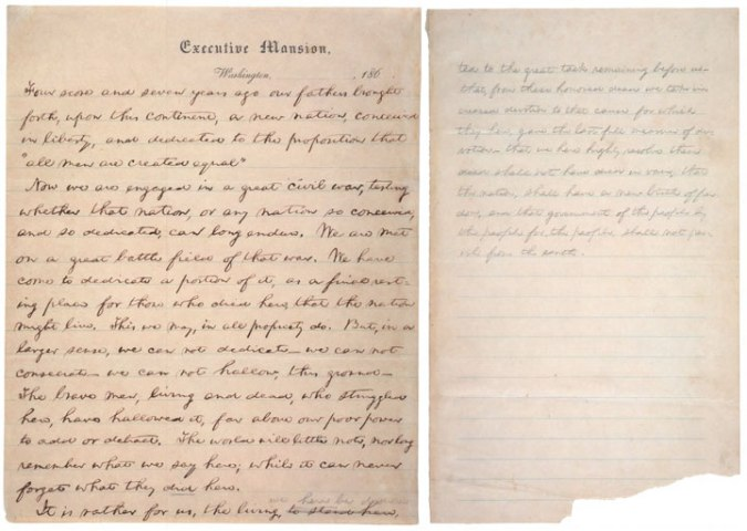 "The ""Nicolay Copy,"" earliest known handwritten version of the Gettysburg Address."