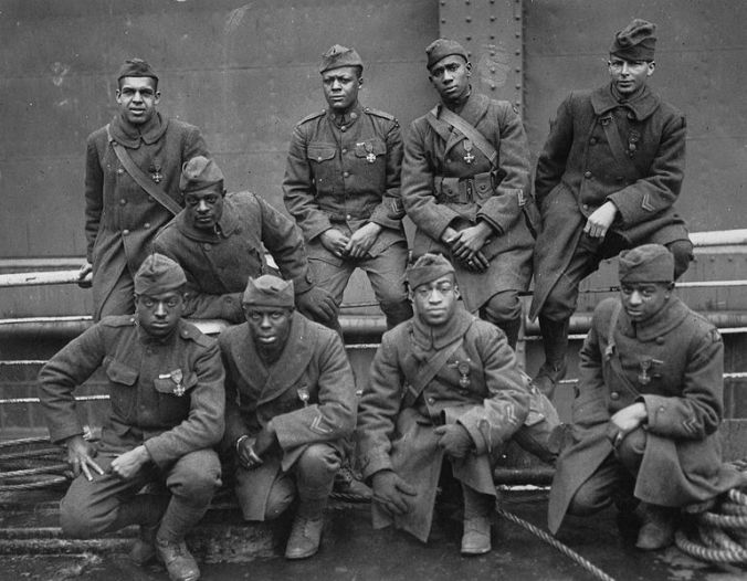 "Members of the ""Harlem Hellfighters,"" 369th Infantry, 1919. As Coolidge said on that November day in 1926, ""Our armies could not be said to partake of any distinct racial characteristic...but they were all Americans in the defense of our common interests..."""
