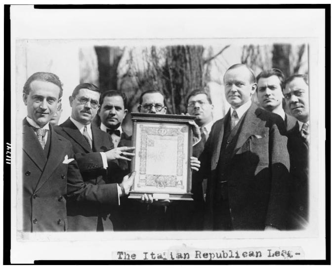 President Coolidge being presented an original parchment of the Gettysburg Address by the Italian Republican League of New York, February 12, 1927.