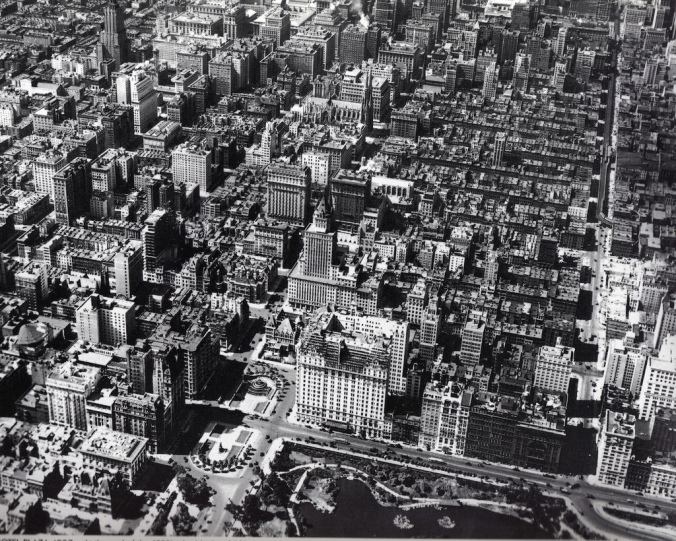 Aerial view of Midtown Manhattan, May 1925. The Plaza Hotel is in the foreground. The Empire State Building would not be constructed until 1931.