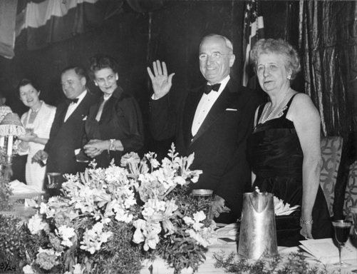 "President Truman at the Jefferson-Jackson Dinner, March 29, 1952, at which he announced: ""I shall not be a candidate for reelection. I have served my country long, and I think efficiently and honestly. I shall not accept a renomination. I do not feel that it is my duty to spend another 4 years in the White House."""
