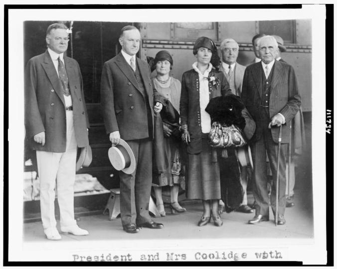 President and Mrs. Coolidge returning from summer in Swampscott, MA, with Secretary of Commerce Herbert Hoover and new Secretary of State, Frank B. Kellogg, 1925.