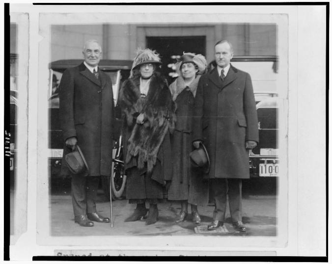 President and Mrs. Harding beside the Coolidges outside Union Station en route to the Inauguration, March 1921.