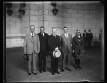 Taken the following year, 1929, as President Coolidge steps aside from the Presidency, Colonel Starling and Everett Sanders stand with their Chief one last time as the Coolidge years come to a close.