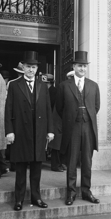 President Coolidge with Secretary Everett Sanders at the International Civil Aeronautics Conference, December 12, 1928.