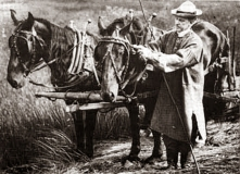 Then-Vice President Coolidge adjusting the gag swivel for one of his horses during work at the Notch, 1920.