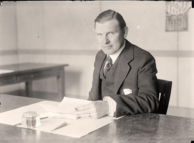 George N. Peek, President of Moline Plow Company and tireless lobbyist on behalf of government joining with corporations to fix agricultural prices. After Coolidge thwarted his efforts to make McNary-Haugen the law, Peek became a Democrat and eventually, a supporter of FDR's Agricultural Adjustment Act.