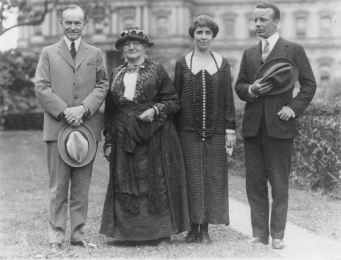 The Coolidges meet Mother Jones and Theodore Roosevelt, Jr., at the White House in 1924.