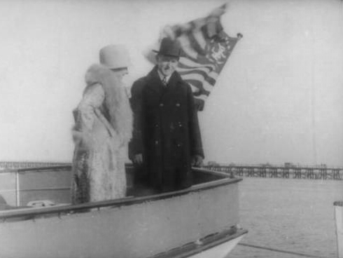 The Coolidges on the afterdeck of the Zapala, designed by A. E. Luders and built in Stamford, CT, in 1927.
