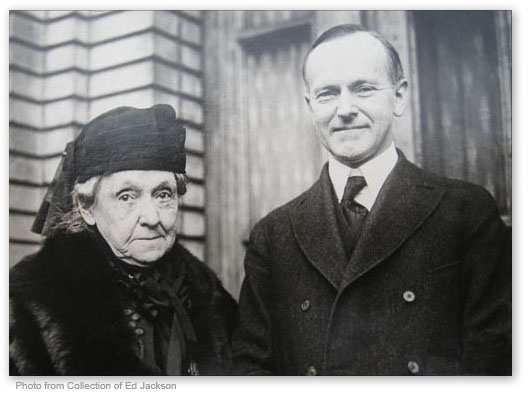 Vice President Coolidge, just after taking the oath of office, is snapped next to Rebecca Felton, the overtly prejudiced Senator from Georgia, November 21, 1922.
