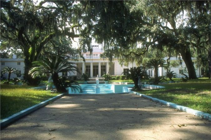 "View to the front Terrace of ""The Big House"" (what is now called The Reynolds Mansion), where Coolidge and Coffin stood."