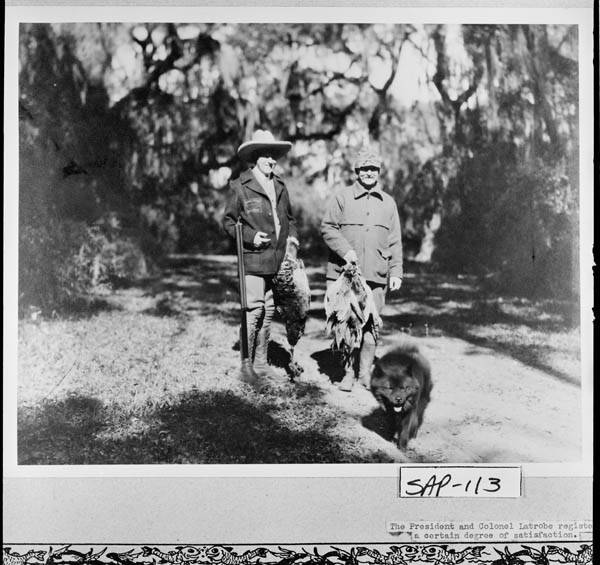 President Coolidge and Colonel Latrobe, unsuccessful at quail, do shoot a few pheasants during the hunt, Sapelo Island.