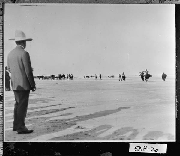 President Coolidge watches the steer riding along the beaches of Sapelo Island, December 1928.
