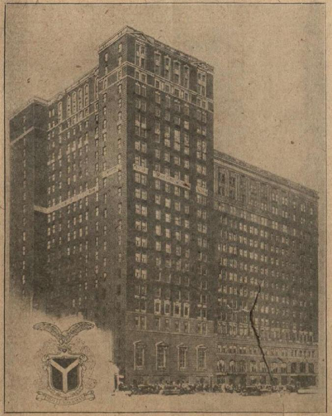 The Sherman Hotel in Chicago where President Coolidge delivered his address on the farmer and the nation, December 7, 1925.