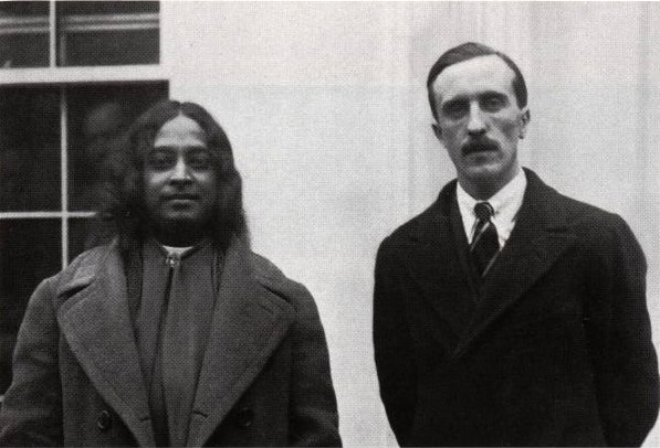 Yogananda just after visiting with President Coolidge, January 24, 1927. If you look closely over the Yogi's right side, the President is taking one last look at his visitor.