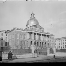 Massachusetts State House, flags lowered at half-mast in honor of the late former President Coolidge, January 1933