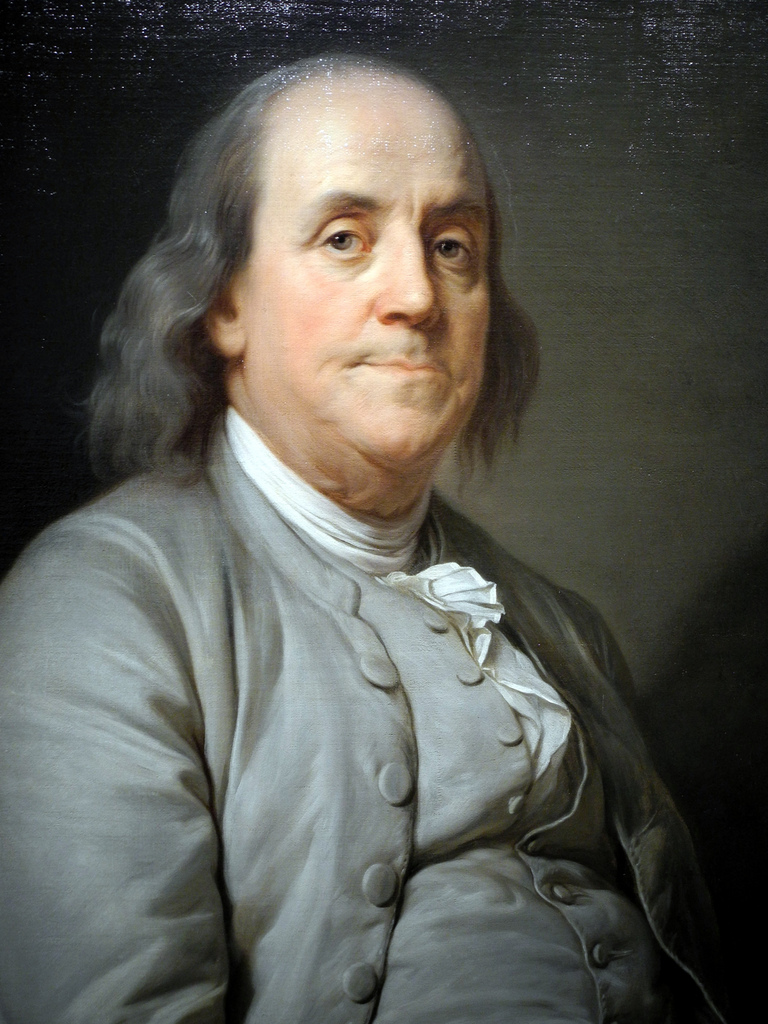 Ben Franklin, painted by Joseph S. Duplessis, 1778.