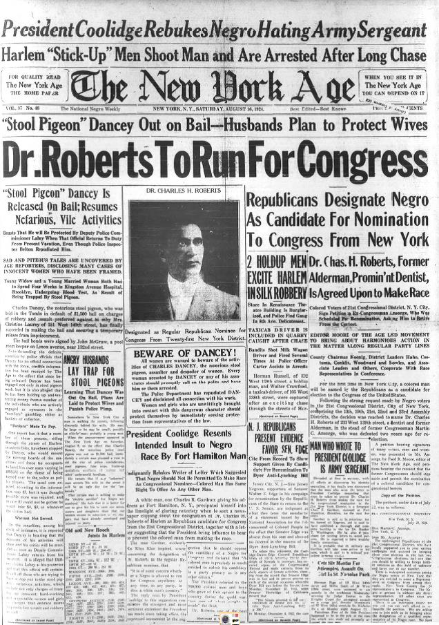 August 16, 1924 edition of The New York Age. What Coolidge did made headlines and further strengthened the trust and credibility Coolidge possessed.