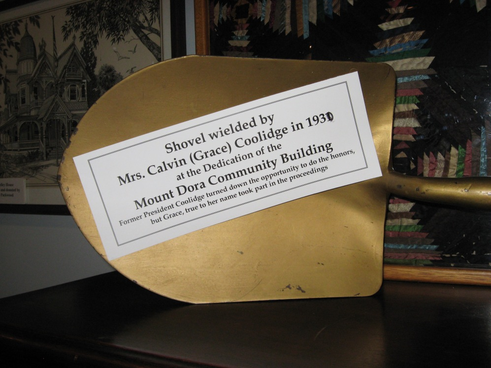 This note corrects the inscription on the handle but beware when taking the tour at the Mount Dora Historical Society Museum: They characterize Cal as too mean and rude to participate in the ceremony. They omit that he was not even there...but spent the afternoon in Winter Haven that day.