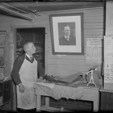 Shoemaker James Lucey in his Northampton shop, January 7, 1933
