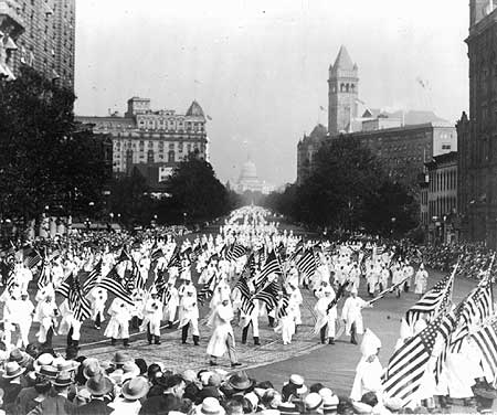 "In what the coming years would reveal was the last desperate gasp of ""respectable"" Klan retrenchment, the KKK took advantage of Coolidge's absence from Washington to follow the debacle that was the 1924 Democrat Convention to march down Pennsylvania Avenue, August 8, 1925. Coolidge would help deliver the decline and demise of the Klan's membership and influence in the coming years."