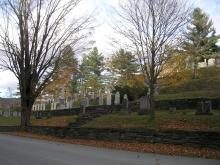 "The Coolidge family headstones stand in a row at the center of the picture, Plymouth cemetery, The Notch. ""Here my dead lie pillowed on the loving breast of our everlasting hills"" -- Calvin Coolidge"