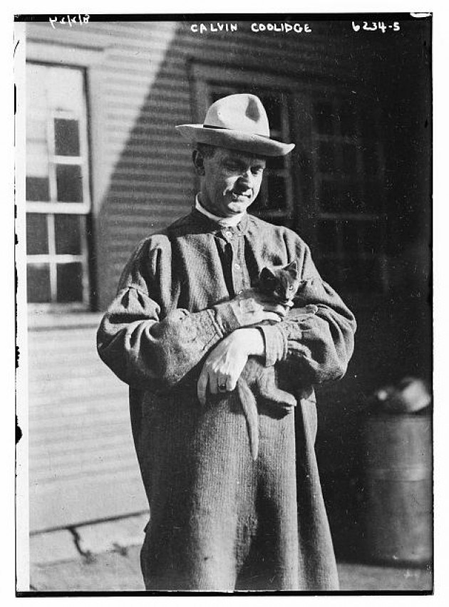Coolidge with one of his cats at the Homestead in Plymouth.