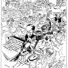 """The New Editor Goes to Work"" by Jay ""Ding"" Darling, as former President Coolidge joined the editorial room as a daily columnist in the summer of 1930."