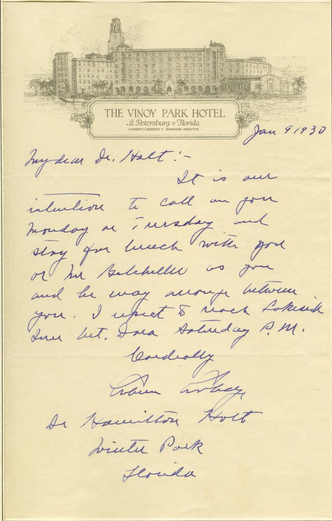 Coolidge letter to the President of Rollins College, Mr. Holt, written on January 9, 1930, on Vinoy stationary. The Coolidges would visit Rollins during their stay in Florida.