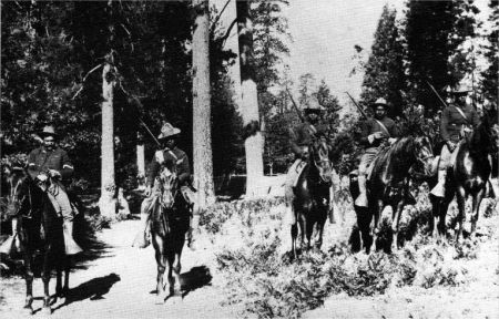 Troops of the 24th Infantry, in a photo taken at Yosemite National Park sometime in the early years of the twentieth century. The 24th Infantry was deployed to resolve more civil conflicts than any other unit. Coolidge authorized the early release of 20 black soldiers originally under sentence of death or life imprisonment for taking part in the race riots in Houston, August 1917.