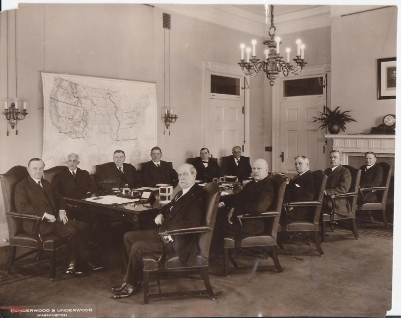 Photo of Coolidge and his Cabinet, taken in the winter of 1924. Notice the changes in personnel from the ones inherited from Harding at Attorney General and the Navy and Agriculture Departments.