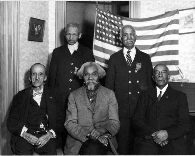 Some of the Grand Army of the Republic who began the work back in 1915 that pushed for a memorial honoring the contributions of Negroes in America. This picture was taken of them in 1935, as the fight continued to act on what Coolidge had authorized six years before.