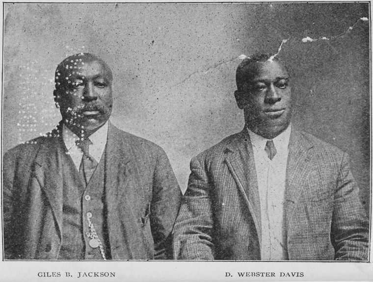 Lawyer Giles B. Jackson and Educator-Author D. Webster Davis photographed together in 1911, both rose from slavery to successful lives of public service