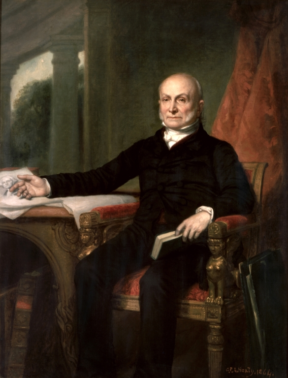 The famous Doctrine attributed to President Monroe was actually written by his Secretary of State and future President, John Quincy Adams. Adams is depicted here in a posthumous portrait by G. P. A. Healy, 1858.