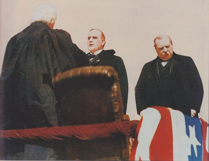Outgoing President Cleveland at the inauguration of incoming President McKinley as Chief Justice Melville Fuller administers the oath, March 1897.