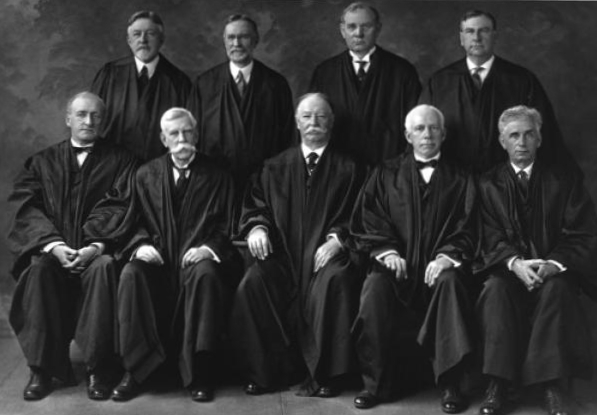 The Taft Court, 1925. Coolidge's new appointment, Justice Harlan Stone would join the majority for a strong Executive power against the three dissenters (Holmes, McReynolds and Brandeis), who favored Presidential deference to Congress.