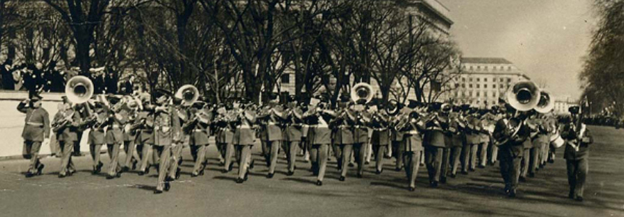 """Pershing's Own,"" The Army Band marches down Pennsylvania Avenue during the Inaugural Parade, 1925"