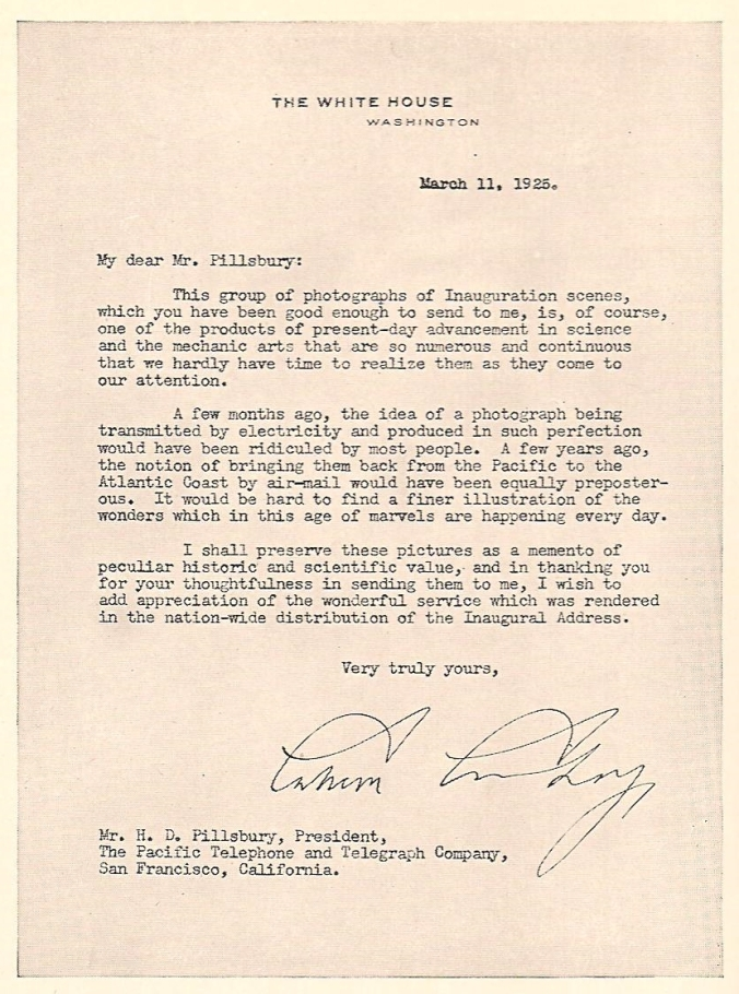 President Coolidge's letter reproduced in William P. Banning's book, Commercial Broadcasting Pioneer: The WEAF Experiment 1922-1926. Cambridge: Harvard University Press, 1946, between pages 270 and 271.
