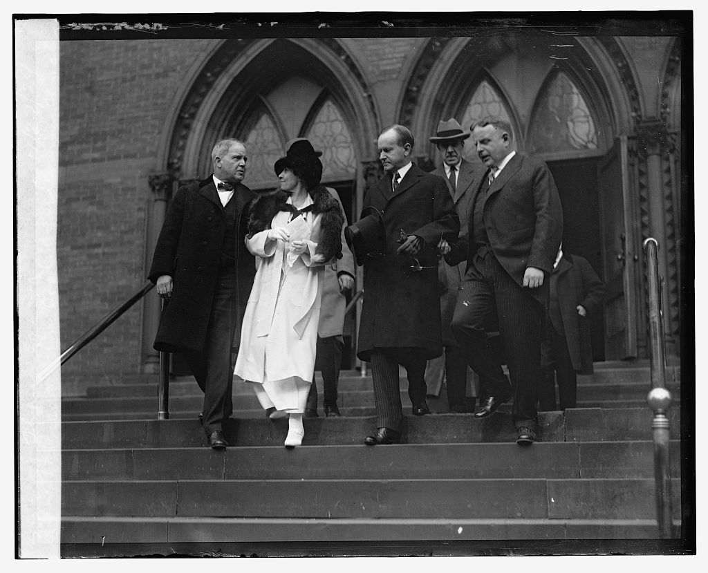 The Coolidges leaving church services at First Congregational, 1924