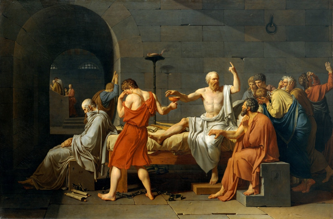 "Jacques-Louis David's ""Death of Socrates"" depicting the ultimatum imposed on the philosopher to recant his ideas or be forced to drink hemlock. He continues to discourse on the truth of the eternal and spiritual. The painting dates from 1787, the year the Framers were thinking through the principles of sound, constitutional government."