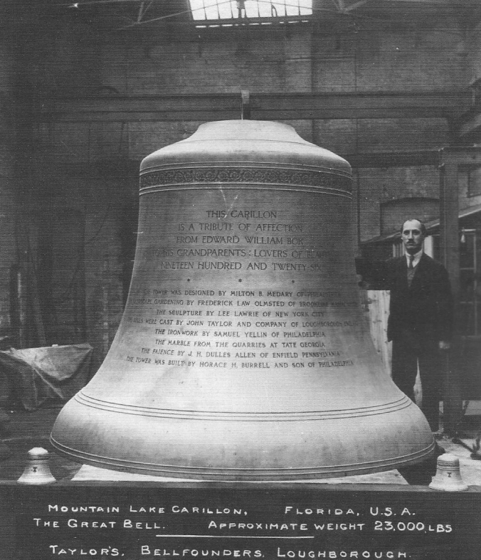 The Great Bell, the largest of sixty bells housed in Bok Tower from a picture taken in 1928 in England, where it was cast to be transported across the Atlantic and over rails to its place as the centerpiece of Bok's musical assembly.