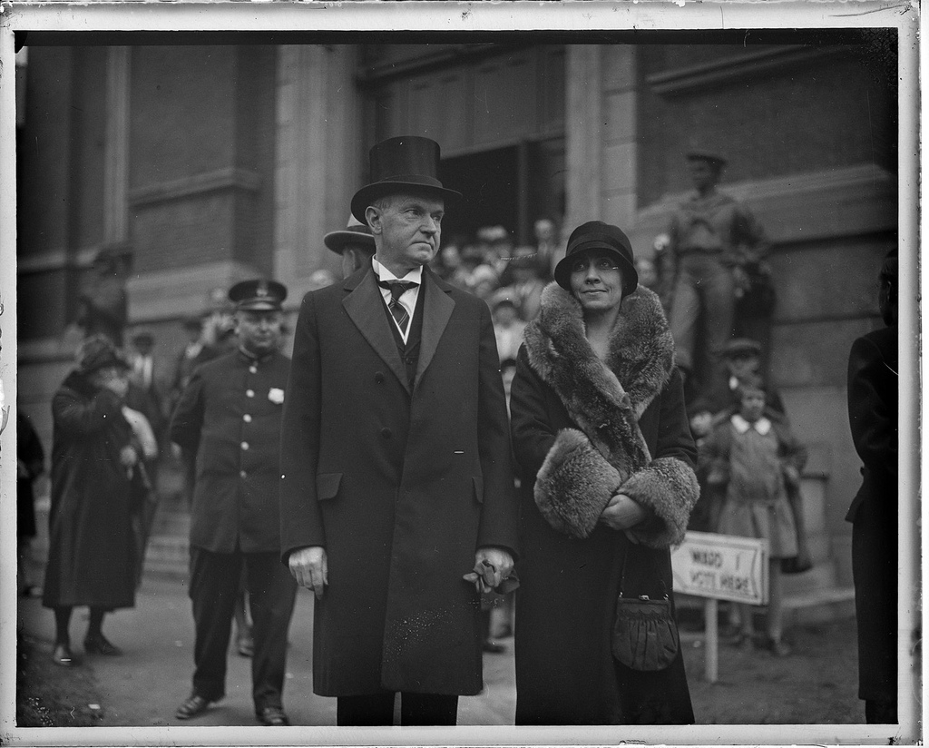 The Coolidges, in retirement, out to vote on election day, 1932. It would be his last in 39 years of civic participation.