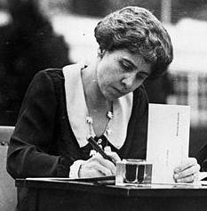 Grace Coolidge leading by example, completing her absentee ballot on the White House lawn, while both her and Calvin urge all Americans to get out and vote in that year's election, 1924.