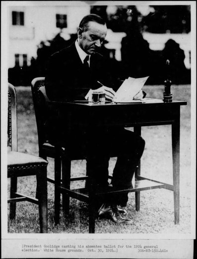 Calvin likewise, filling out his absentee ballot in front of the White House, encourages everyone eligible to exercise their informed choice at the ballot box.