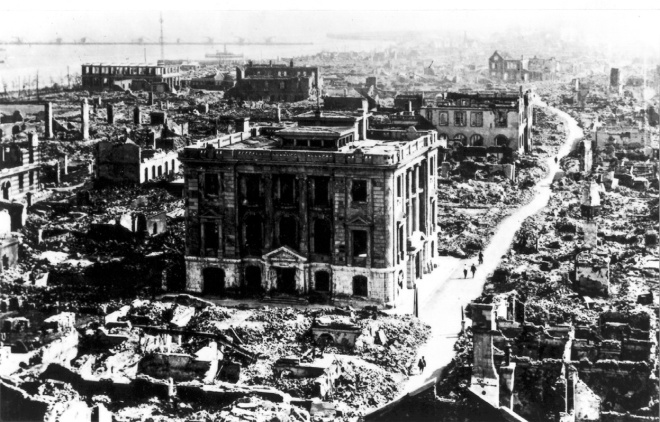 View from the Imperial Hotel, the only hotel to survive, of some of the destruction in Tokyo in 1923. It is estimated over 140,000 people died and yet Coolidge helped raise $12 million (what would be $165 million today) through the Red Cross for victims of the disaster.